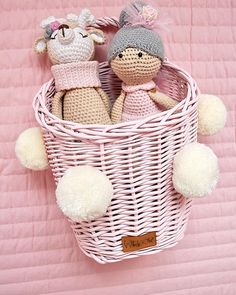 A handmade wicker toy basket in pink color with pompoms Toy Basket, Wicker Furniture, Baskets On Wall, Handicraft, Pink Color, Handmade Items, Toys, Home Decor, Rattan Furniture