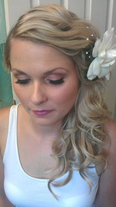 Bride makeup Curly Half-up Wedding Hair & Beauty Photos & Pictures - WeddingWire.com
