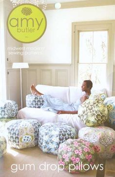 "Amy Butler ""pouf"" for loft/playroom/reading nook."
