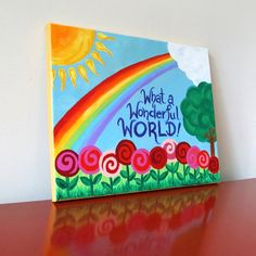 Kids Decor WHAT A WONDERFUL WORLD No2 14x11 Original by nJoyArt, $75.00  What A Wonderful World. This painting illustrates the song I sang to my kids as babies. #kids #art #nursery