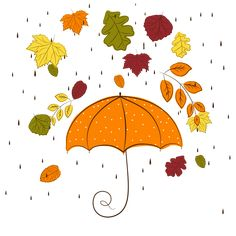 Funky Hand Drawn Autumn Leaves with Rain, Vector by Vector Background License: Attribution ID: Leaf Background, Vector Background, Eps Vector, Vector Free, Vectors, Autumn Bullet Journal, Mandala Sketch, Fall Drawings, Leaves Vector