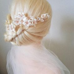 Romantic Hairstyles, Up Hairstyles, Wedding Hairstyles, Small Flowers, White Flowers, Crystal Beads, Glass Beads, Wedding Hair Up, Brenda Lee