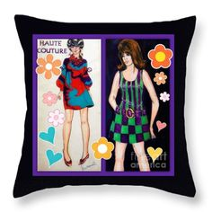 Haute Couture 1966 Throw Pillow by Joan-Violet Stretch