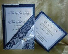 "Navy Blue -Pocket fold Luxury Wedding Invitation (sample) -"" Blue Night "" on Etsy, $5.00"