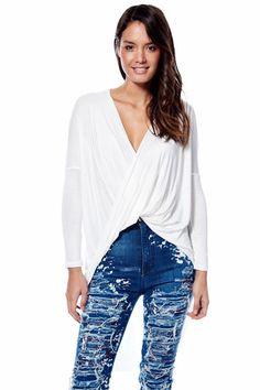 Long Sleeve White Wrap Shirt – KarensClosetNY
