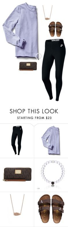 """Untitled #222"" by realaddietude ❤ liked on Polyvore featuring NIKE, Gap, MICHAEL Michael Kors, Kendra Scott and Birkenstock"