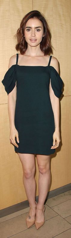 Who made Lily Collins' black off the shoulder dress, nude pumps, and quilted handbag?