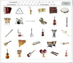 """""""El juego de los instrumentos"""" consiste en identificar los instrumentos que se escuchan en los 20 fragmentos musicales que se escuchan tras hacer click en el número. Al final se ofrece el resultado de los aciertos y errores producidos."""