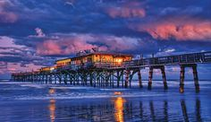 Crabby Joe's Restaurant on the Sunglow Pier, Daytona Beach.  Eat ON the ocean!  Awesome seafood!