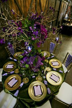 Wedding, Flowers, Purple, Gold, Table, Events, Design, Spring