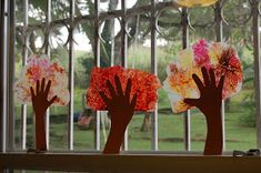 Jungle School: Handprint Art - Fall Trees