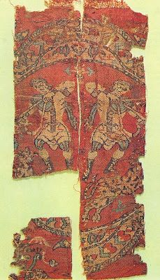7th Century AD  Medallion with huntsman on foot. Silk twill. Fragment in two faffe3cb22