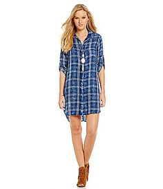 Chelsea and Violet Plaid Shirt Dress #Dillards