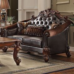 Acme Furniture - Vendome II Loveseat with 3 Pillows, Dark Brown PU & Cherry - 53131 Living Room Paint, My Living Room, Living Room Furniture, Office Furniture, Acme Furniture, Cheap Furniture, Leather Furniture, Mexican Furniture, Furniture Websites