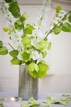 Green and White Tall Delphinium Centerpiece Idea| Afloral.com Wedding Design