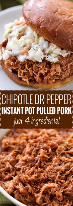 The most incredibly tender pulled pork, made easily in an hour in the Instant Pot! With just 4 ingredients, it's perfect to throw together for dinner with minimal effort! | #pork #pulledpork #bbq #instantpot #pressurecookerrecipes #easyrecipe