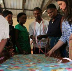 Zambia 2014. Cinnamon sharing about fabrics #sewpowerful