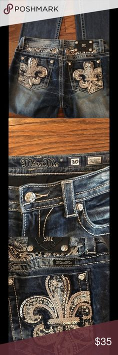 Miss Me Jeans Sz 30x31 Slim boot. Nice Great pair Miss Me Jeans with gentle use. Rhinestones intact. 98% cotton, 2% elastane. Used but in great shape with some wear noted to back hem. Bought new for my daughter.  Great Buy! Miss Me Jeans Boot Cut
