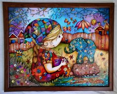 """Too cute :D Gallery.ru / """"Девочка со слоником"""" 40*50 см. - Картины - enehi"""