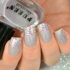 "Stamping nail art over Color Club Halo Hues ""What's Your Sign?"""