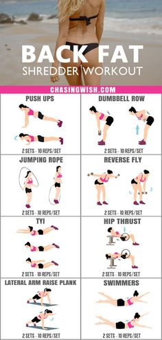 Glad to have found this amazing back fat shredder workout for women at home. This is the most effective back workout for women I've ever tried. Definitely pinning for later! #backfat #shredder #workout #women #home