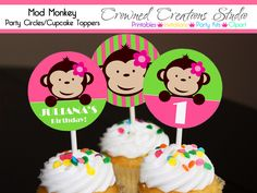 Mod Monkey Cupcake Toppers, Stickers, or Party Circles - Girls Pink and Green Mod Monkey Party Printables - Birthday, Baby Shower. $5.00, via Etsy.
