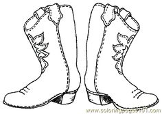 Free Cowboy boot outline | Coloring Pages Cowboy Coloring Page 001 (7) (Cartoons > Others) - free ...