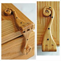 Hand carved hinges in Oak with Walnut. Wooden Hinges, Wooden Box Designs, Box Maker, Wood Joinery, Scroll Saw, Wooden Crafts, Bird Houses, Wooden Boxes, Hand Carved