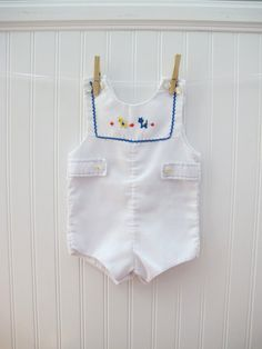 Darling baby boy romper / sunsuit.