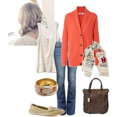blue jeans and coral sweater - yes!