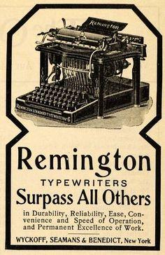 OFFICE 1900: Ad Wyckoff Seamans Benedict Remington Typewriter Original Advertising | eBay