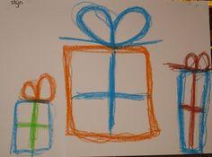 schrijfdans cadeautjes/robot: vierkanten en rechthoeken. Leuke variatie
