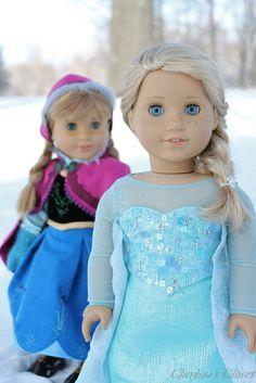 Anna & Elsa by Clarisse's Closet. Disney's Frozen beautiful sets on customized American Girl dolls <3