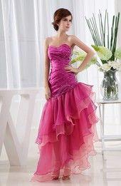 Hot Pink Glamorous Full Skirt Sleeveless Criss-cross Straps Satin Floor Length Evening Dresses