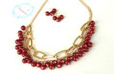 Bordo beaded Necklace / earrings set