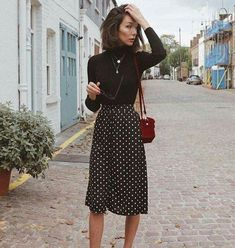 42  Winter Time : Polka Dot Midi Skirt That You Can Try