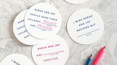 Dinner party games become more fun when everyone participates. Make it easy for guests—and get them talking (and predicting your future as husband and wife)—with these customizable Mad Libs-style coasters that are the perfect icebreakers for your rehearsal celebration.