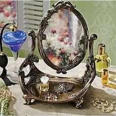 Design Toscano Guimard Art Nouveau Vanity Table Mirror with Stand