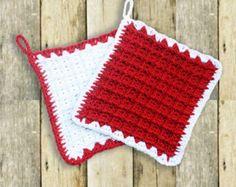 Presine rosse fatte a uncinetto, coppia di presine in cotone regali estate autunno natale artigianali, fatto a mano, presine bianche e rosse