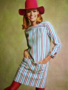 Striped dress, Jardin des Modes April 1967
