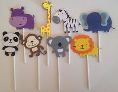 Animal Cupcake Toppers set of 24 by DarlingPartyz on Etsy