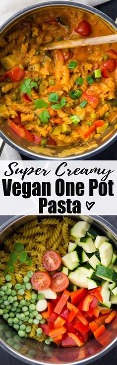 This vegan one pot pasta with red curry paste and coconut milk is one of my favorite vegetarian recipes! Find more vegan pasta recipes and vegan food in general on veganheaven.org. #vegan #veganrecipes #onepotpasta
