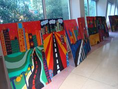 Perspective city paintings- 6th grade