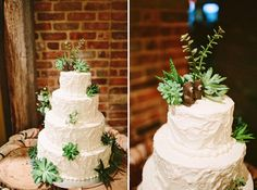 Cake love: a wedding cake with a forest of succulents and cute bear cake topper