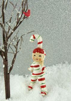 Candy Cane Girl Christmas Classics, Christmas Figurines, Cozy Christmas, Vintage Christmas Ornaments, Modern Christmas, Retro Christmas, Vintage Holiday, Christmas Stuff, Beautiful Christmas