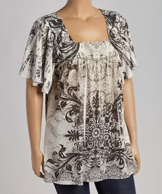 Love this Black & White Flourish Square Neck Top - Plus by Citi Life on #zulily! #zulilyfinds