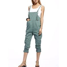 Fashionable Front Slit Pockets Drop Crotch Women s Overalls ($22) ❤ liked on Polyvore featuring jumpsuits, overalls jumpsuit, white bib overalls, white jumpsuit, drop crotch jumpsuit and white overalls