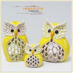 CERAMIC OWL CANDLE HOLDER Pinned by www.myowlbarn.com