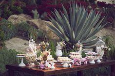 Pink #wedding dessert table, photo by Duke Photography | via junebugweddings.com