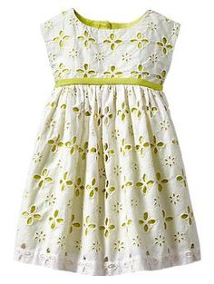 GAP. Contrast eyelet dress. So adorable! Most color ranges possible. Simple line allows the complex fabric pattern to feel light airy and fresh. And a nice pale under color keeps the fabric feeling childlike.